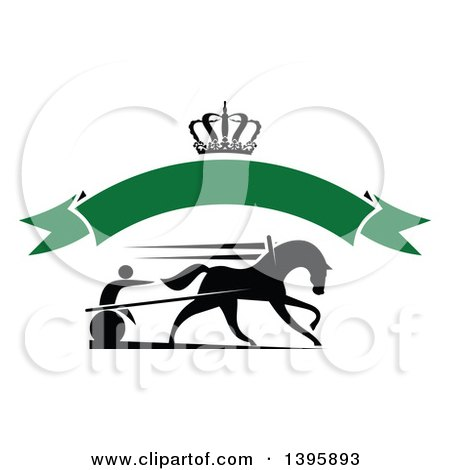 Clipart of a Black Silhouetted Jockey and Horse Harness Racing Under a Crown and Blank Green Banner - Royalty Free Vector Illustration by Vector Tradition SM