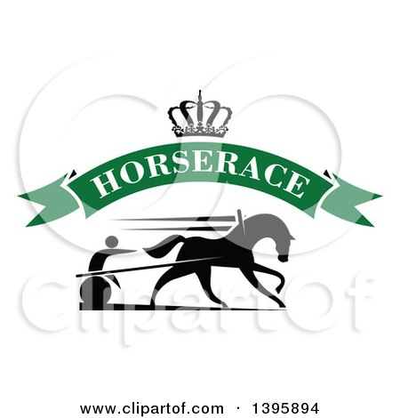 Clipart of a Black Silhouetted Jockey and Horse Harness Racing Under a Crown and Blank Green Text Banner - Royalty Free Vector Illustration by Vector Tradition SM