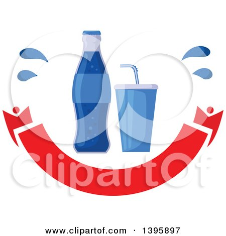 Clipart of a Blue Soda Bottle and Soft Drink over a Blank Banner - Royalty Free Vector Illustration by Vector Tradition SM
