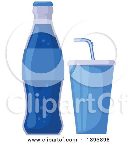 Clipart of a Blue Soda Bottle and Soft Drink - Royalty Free Vector Illustration by Vector Tradition SM