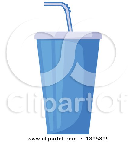 Clipart of a Blue Fountain Soda Cup - Royalty Free Vector Illustration by Vector Tradition SM
