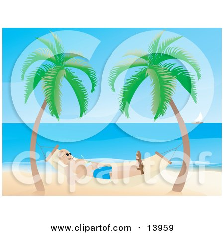 Man Relaxing in a Hammock on a Tropical Beach Clipart Illustration by Rasmussen Images