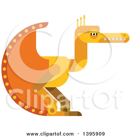 Clipart of a Flat Design Yellow Pterodactyl Dinosaur - Royalty Free Vector Illustration by Vector Tradition SM