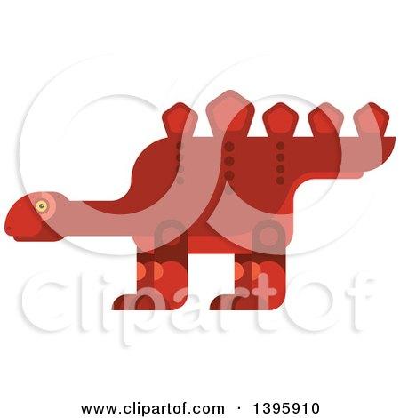 Clipart of a Flat Design Red Stegosaurus Dinosaur - Royalty Free Vector Illustration by Vector Tradition SM