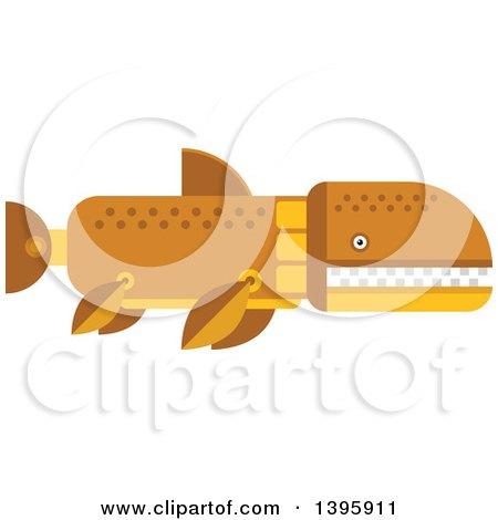 Clipart of a Flat Design Prehistoric Shark Dinosaur - Royalty Free Vector Illustration by Vector Tradition SM