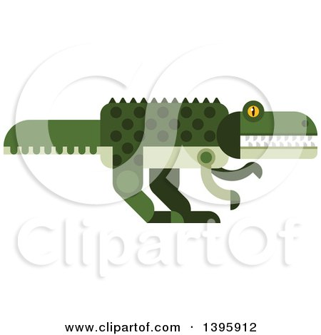 Clipart of a Flat Design Crocodile or Dinosaur - Royalty Free Vector Illustration by Vector Tradition SM