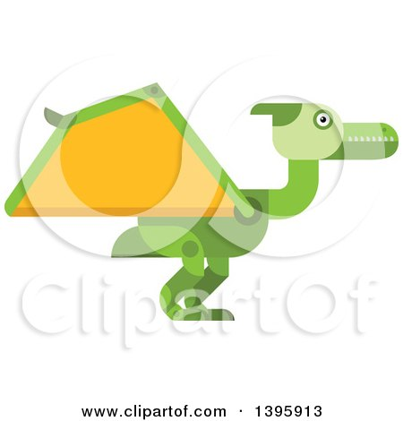 Clipart of a Flat Design Green Pterodactyl Dinosaur - Royalty Free Vector Illustration by Vector Tradition SM