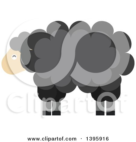 Clipart of a Flat Design Black Sheep - Royalty Free Vector Illustration by Vector Tradition SM