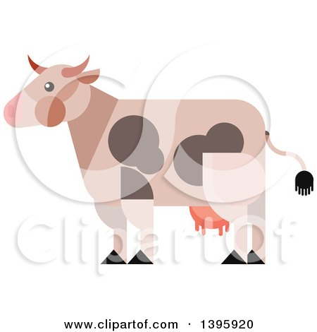 Clipart of a Flat Design Cow - Royalty Free Vector Illustration by Vector Tradition SM