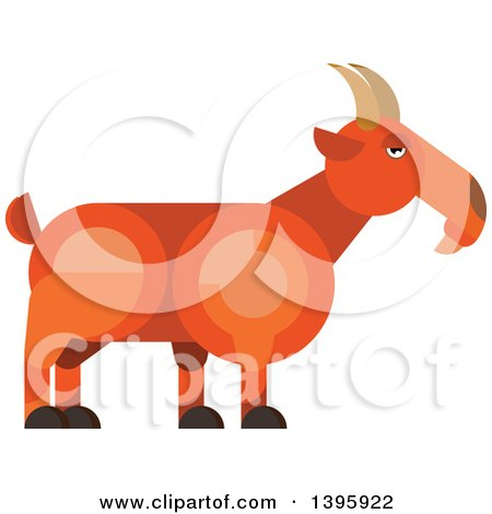 Clipart of a Flat Design Goat - Royalty Free Vector Illustration by Vector Tradition SM