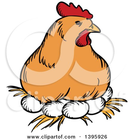 Clipart of a Sketched Chicken Hen Resting on Eggs - Royalty Free Vector Illustration by Vector Tradition SM