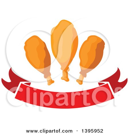 Clipart of a Banner with Chicken Drumsticks - Royalty Free Vector Illustration by Vector Tradition SM