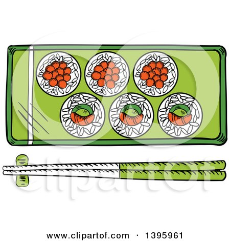 Clipart of a Sketched Japanese Sushi Platter and Chopsticks - Royalty Free Vector Illustration by Vector Tradition SM