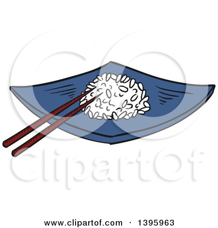 Clipart of a Sketched Chinese Plate of Rice - Royalty Free Vector Illustration by Vector Tradition SM