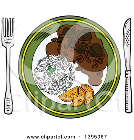 Clipart of a Sketched Plate of Pork and Bean Stew Feijoada - Royalty Free Vector Illustration by Vector Tradition SM