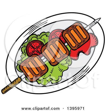 Clipart of a Sketched Beef Picanha Skewer - Royalty Free Vector Illustration by Vector Tradition SM