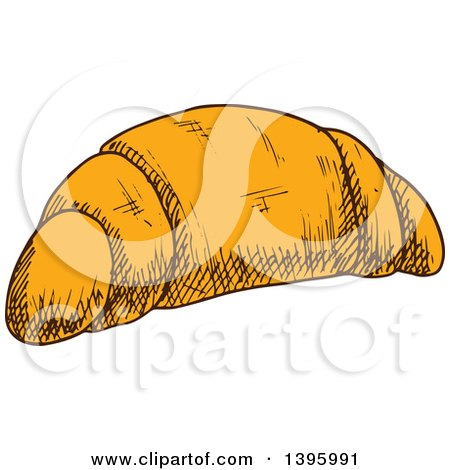 Clipart of a Sketched Croissant - Royalty Free Vector Illustration by Vector Tradition SM