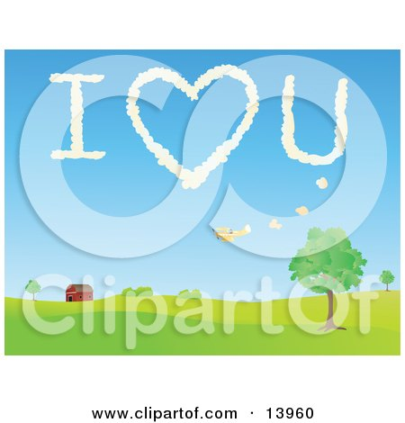 Biplane Flying Over a Barn and Leaving the Message I Love You in the Sky Posters, Art Prints