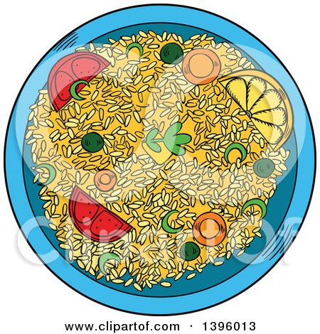 Clipart of a Sketched Bowl of Asian Rice - Royalty Free Vector Illustration by Vector Tradition SM