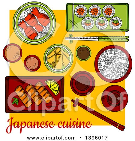 Clipart of a Sketched Japanese Sushi Platter - Royalty Free Vector Illustration by Vector Tradition SM