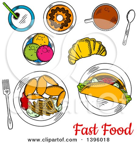 Clipart of a Meal of Sketched Fast Food with Text - Royalty Free Vector Illustration by Vector Tradition SM