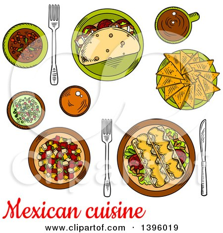 Clipart of a Sketched Meal of Mexican Food with Text - Royalty Free Vector Illustration by Vector Tradition SM