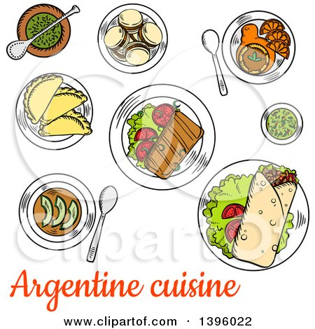Clipart of a Sketched Meal of Argentine Cuisine - Royalty Free Vector Illustration by Vector Tradition SM