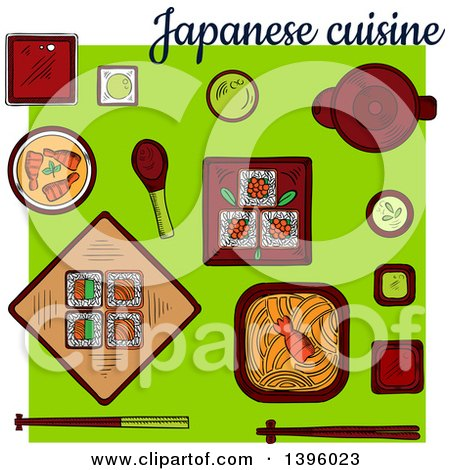 Clipart of a Meal of Japanese Cuisine on Green - Royalty Free Vector Illustration by Vector Tradition SM