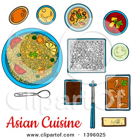Clipart of a Sketched Meal of Asian Cuisine - Royalty Free Vector Illustration by Vector Tradition SM