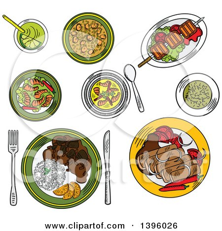 Clipart of a Sketched Meal of Brazilian Foods - Royalty Free Vector Illustration by Vector Tradition SM