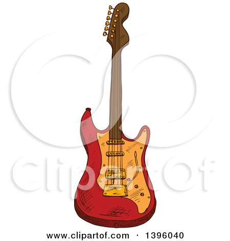 Clipart of a Sketched Electric Guitar - Royalty Free Vector Illustration by Vector Tradition SM