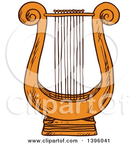 Clipart of a Sketched Lyre - Royalty Free Vector Illustration by Vector Tradition SM