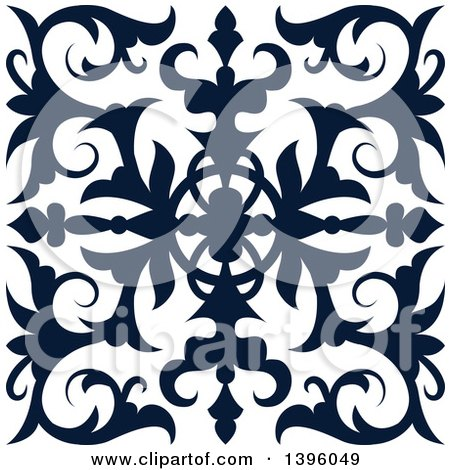 Clipart of a Navy Blue Square Vintage Ornate Flourish Design Element - Royalty Free Vector Illustration by Vector Tradition SM