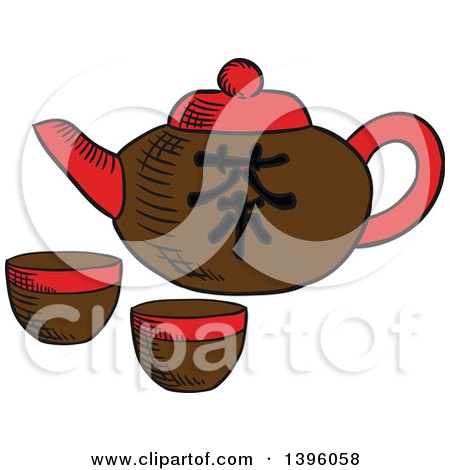 Sketched Chinese Tea Pot and Cups Posters, Art Prints