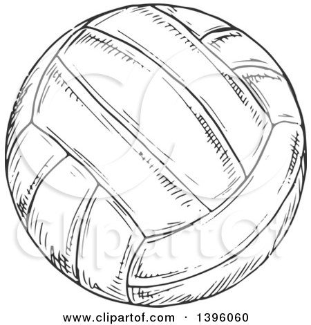 Clipart of a Sketched Dark Gray Volleyball - Royalty Free Vector Illustration by Vector Tradition SM