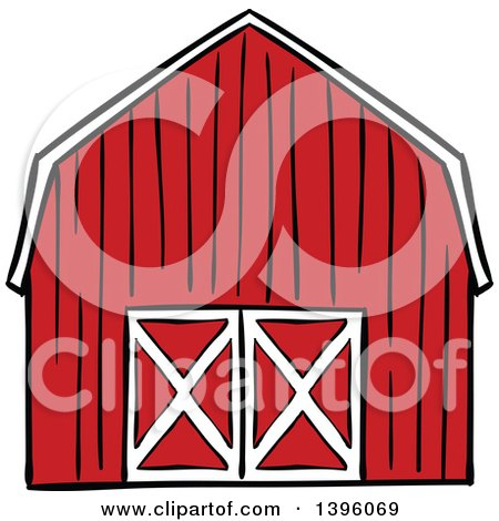 Clipart of a Red Barn with a Hay Loft and Farm Silo with Shrubs ...
