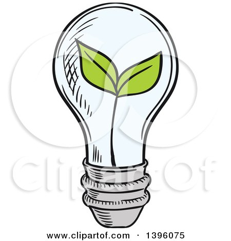 Clipart of a Sketched Plant in a Light Bulb - Royalty Free Vector Illustration by Vector Tradition SM