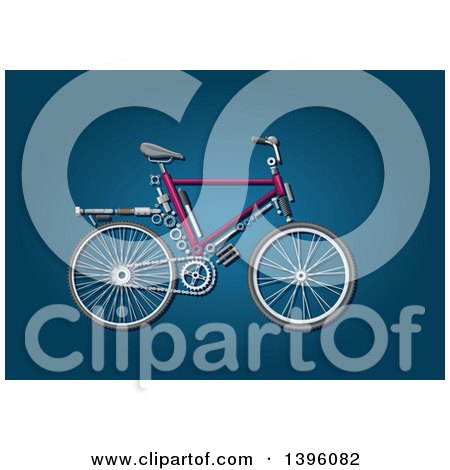 Clipart of a Bicycle with Visible Mechanical Parts, on Blue - Royalty Free Vector Illustration by Vector Tradition SM