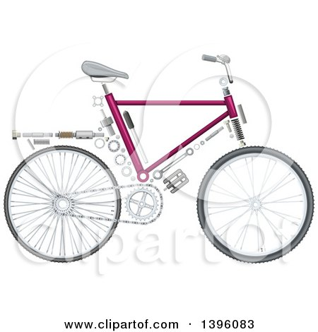 Clipart of a Bicycle with Visible Mechanical Parts - Royalty Free Vector Illustration by Vector Tradition SM