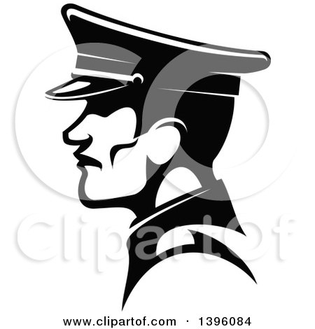 Clipart Of A Black And White Profiled German Soldier In A Peaked Cap Royalty Free Vector Illustration