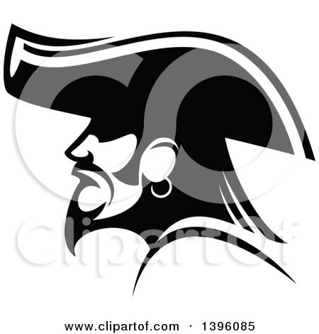 Clipart of a Black and White Profiled Pirate Captain - Royalty Free Vector Illustration by Vector Tradition SM