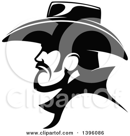 Clipart Of A Black And White Profiled Cowboy Royalty Free Vector Illustration