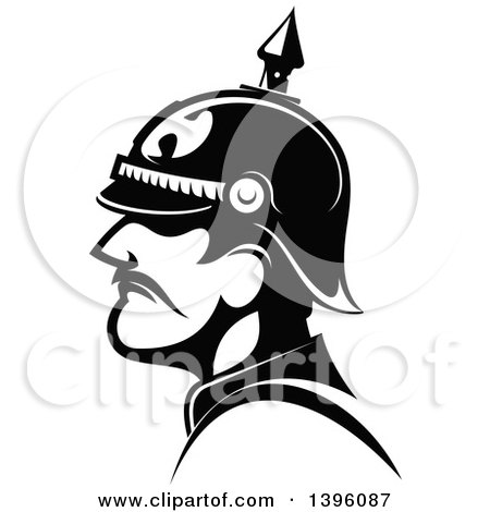 Clipart Of A Black And White Profiled General Of The Prussian Army Royalty Free Vector Illustration