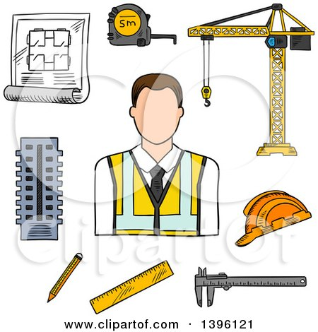 Clipart of a Sketched Cacuasian Male Engineer and Items - Royalty Free Vector Illustration by Vector Tradition SM