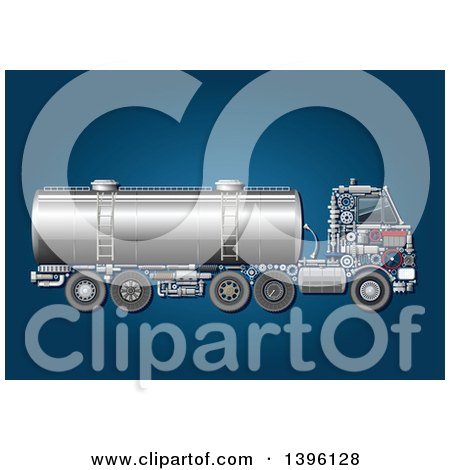 Clipart of a Tank Truck with Visible Mechanical Parts, on Blue - Royalty Free Vector Illustration by Vector Tradition SM
