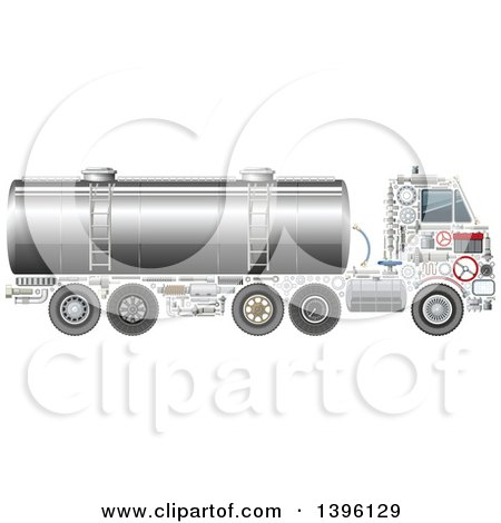 Clipart of a Tank Truck with Visible Mechanical Parts - Royalty Free Vector Illustration by Vector Tradition SM