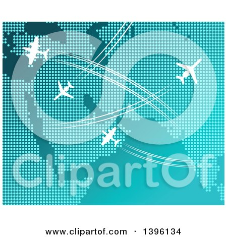 Clipart of a Dot Map with White Airplanes and Paths - Royalty Free Vector Illustration by Vector Tradition SM