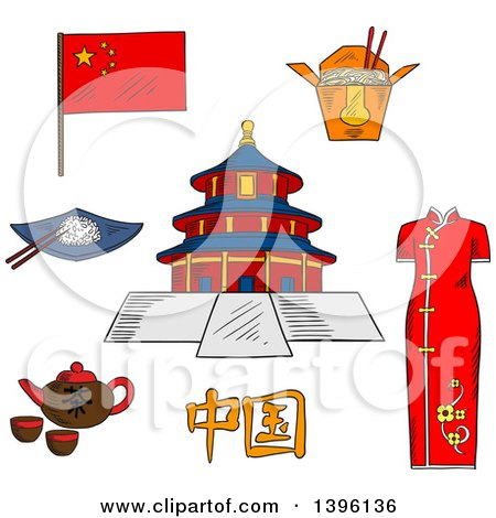 Sketched Chinese Travel Icons National Flag, Woman Kimono, Tea Kettle with Cups, Bowl with Rice and Chopstick, Noodle Box and Ancient Temple of Heaven Posters, Art Prints
