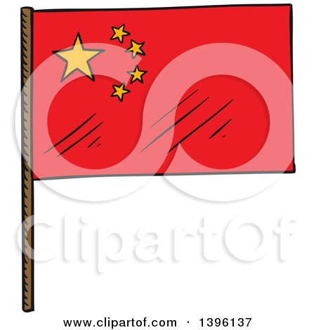 Clipart of a Sketched Chinese Flag - Royalty Free Vector Illustration by Vector Tradition SM
