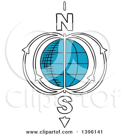 Clipart of a Sketched Earth Magnetic Field Model - Royalty Free Vector Illustration by Vector Tradition SM